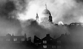 st paul's with bombs falling